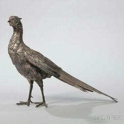 Silvered Bronze Figure of a Pheasant