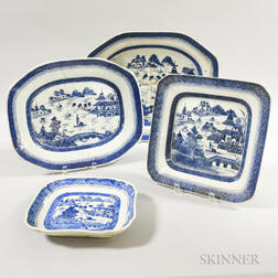 Four Canton Porcelain Trays and Platters