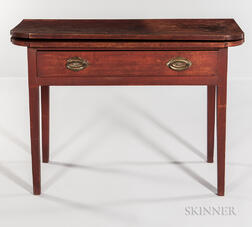 Red-painted Card Table with Drawer