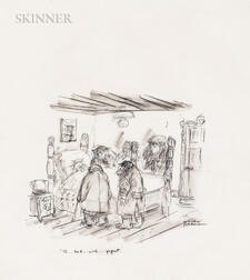 "Charles Samuel Addams (American, 1912-1988)      ""To...hell...with...yogurt...""  /Rough Illustration for the New Yorker"