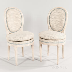 Pair of Louis XVI Gray-painted Side Chairs