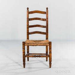 Small Tiger Maple Slat-back Side Chair