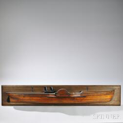Large Carved Laminated Half-hull Model of a Paddle Steamer