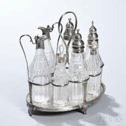 George III Sterling Silver and Glass Cruet Set