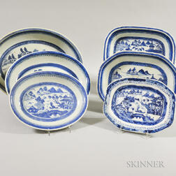 Six Canton Porcelain Dishes and Trays