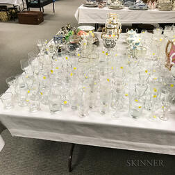 Large Group of Colorless Glass Stemware.     Estimate $200-300