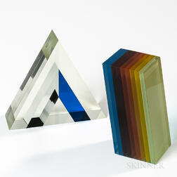 Two Geometric Art Glass Sculptures