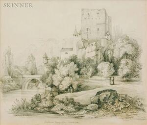 British School, 19th Century    Lot of Three Drawings: Cockermouth Castle, Chateau d'Ancortain, Near Basle