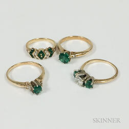 Four 14kt Gold, Emerald, and Diamond Rings