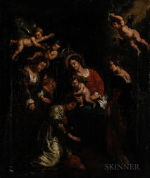 Continental School, 18th Century Style      Madonna and Child with Female Saints