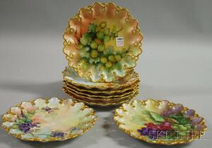 Eight Limoges Hand-painted Porcelain Fruit Plates