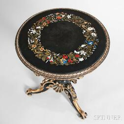 Italian Pietra Dura and Carved Parcel-giltwood Table