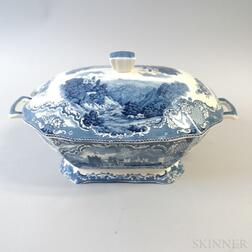 """Johnson Bros. Blue and White Transfer-decorated """"Old Britain Castles"""" Ceramic Tureen"""