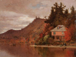 Jervis McEntee (American, 1828-1891)      An October Day  /The Maurice Cottage at Lake Bisby in the Adirondacks, 1888