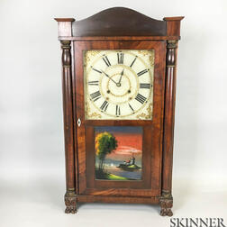 Riley Whiting Reverse-painted Carved Mahogany Shelf Clock