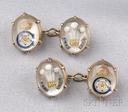 Antique Reverse Crystal Cuff Links