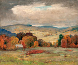Jonas Joseph LaValley (American, 1858-1930)      Cloud Shadows in October, Vermont