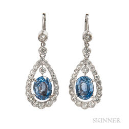 18kt White Gold, Sapphire, and Diamond Earrings