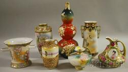 Seven Nippon/Japanese Scenic Hand-painted Porcelain Vases