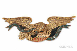 Large Carved, Painted, and Gilded Eagle Plaque