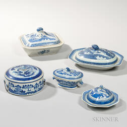 Five Canton Export Porcelain Covered Serving Items
