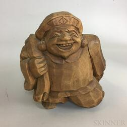 Asian Carved Wood Figure of a Man
