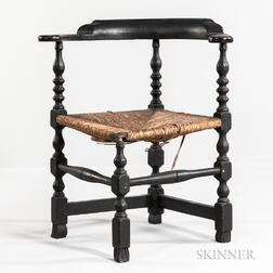 Black-painted and Turned Round-about Chair