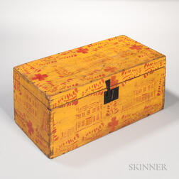 Yellow-painted and Red-stenciled Lift-top Box