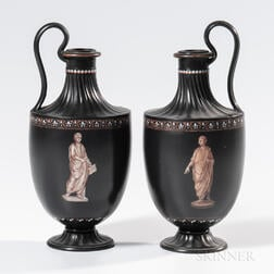 Pair of Wedgwood Encaustic Decorated Black Basalt Ewers