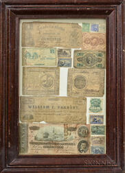 Framed Group of Bank Notes and Stamps