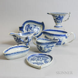 Five Canton Porcelain Sauceboats and Two Leaf Dishes