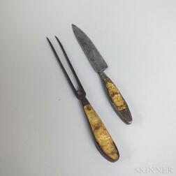 Continental Engraved Bone and Iron Fork and Knife.     Estimate $150-250