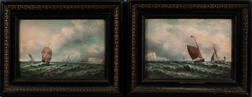 American/European School, 19th Century      Two Maritime Paintings of Ships by the Coast.   White Sails
