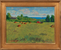 William Middendorf (American, Late 20th Century)      Sakonnet Fields (Landscape with Sea Beyond)