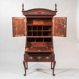 Diminutive Red-painted Maple Secretary Desk