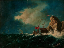 William LeStrange (British, 1782-1846)      Vessels in Storm