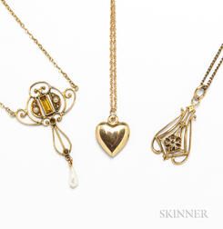 Three Gold Pendants and Chains