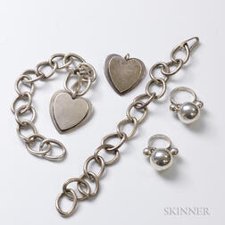 Two Sterling Silver Link Bracelets with Double-heart Pendants and Two Sterling Silver Spherical Rings