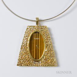 18kt Gold and Tiger's-eye Pendant Watch, Bueche-Girod