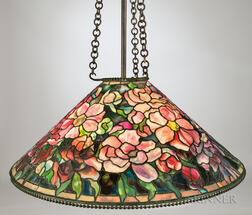 Tiffany Crimson Bouquet Mosaic Glass Hanging Lamp