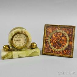Green Onyx New Haven and Marbled Zenith Desk Clocks