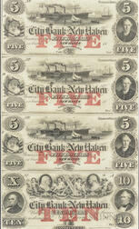 Framed Uncut Sheet of Four City Bank of New Haven $5 Remainder Notes.     Estimate $200-300