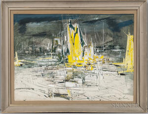 Xavier Gonzalez (American, 1898-1993)      Seascape with Yellow: Sailing Vessels in a Harbor