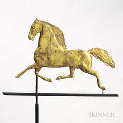 Yellow-painted and Gilded Molded Sheet Copper Blackhawk Horse Weathervane