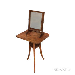 Country Tiger Maple Stand and Mahogany Shaving Mirror.     Estimate $200-300