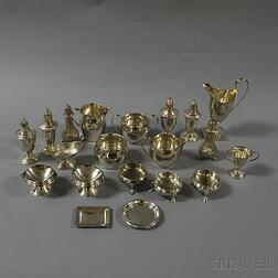 Approximately Twenty-two Small Pieces of Sterling Silver Tableware