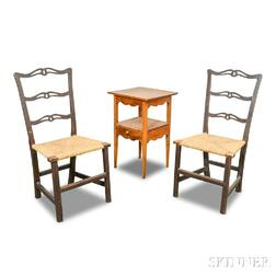 Pair of Chippendale Maple Ribbon-back Side Chairs and Maple Chamberstand.     Estimate $100-150
