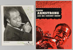 Louis Armstrong and His Concert Group Program and Autographed Photo.