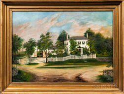 American School, 19th Century      Portrait of a White House with a White Picket Fence