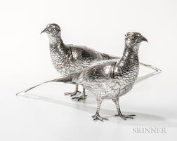 Pair of German .800 Silver Pheasants